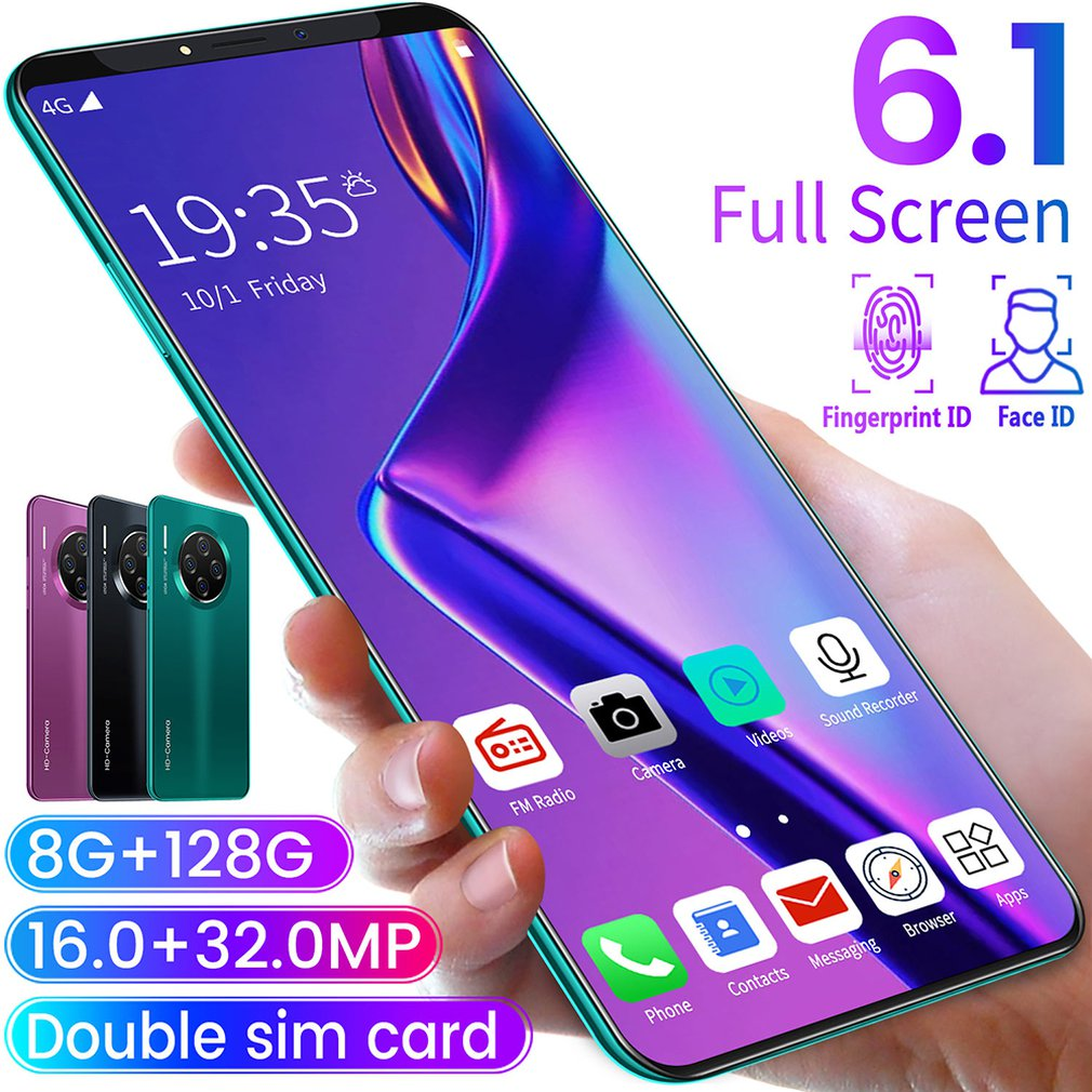 6.1 Inch Smartphone For Mate33 Pro Big Screen Android 9.1 Smartphone Hd Display 8 Cores 4500mAh 8GB+128GB Hd Camera Mobile Phone