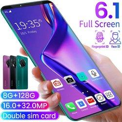 6.1 Inch Smartphone voor Mate33 Pro Big Screen Android 9.1 Smartphone Hd Display 8 Cores 4500mAh 8GB + 128GB Hd Camera Mobiele Telefoon