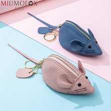 Anime Cartoon Coin Purse Women Cute Mouse Short Wallet Change Purse Originality Genuine Leather Keychain Wallet Children's Gifts