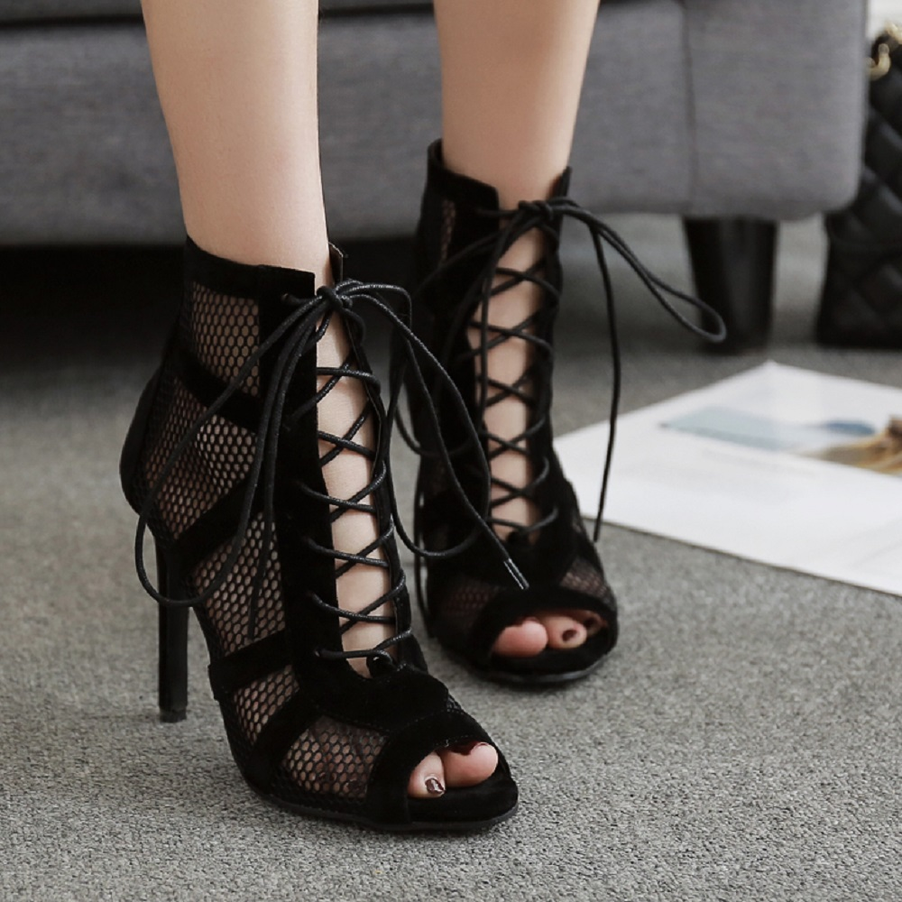 Ailove Social Ballroom Dance Boots Indoor Sports Shoes Professional Salsa Latin Lace Up Sandals Net Surface Hollow Out Heels S68