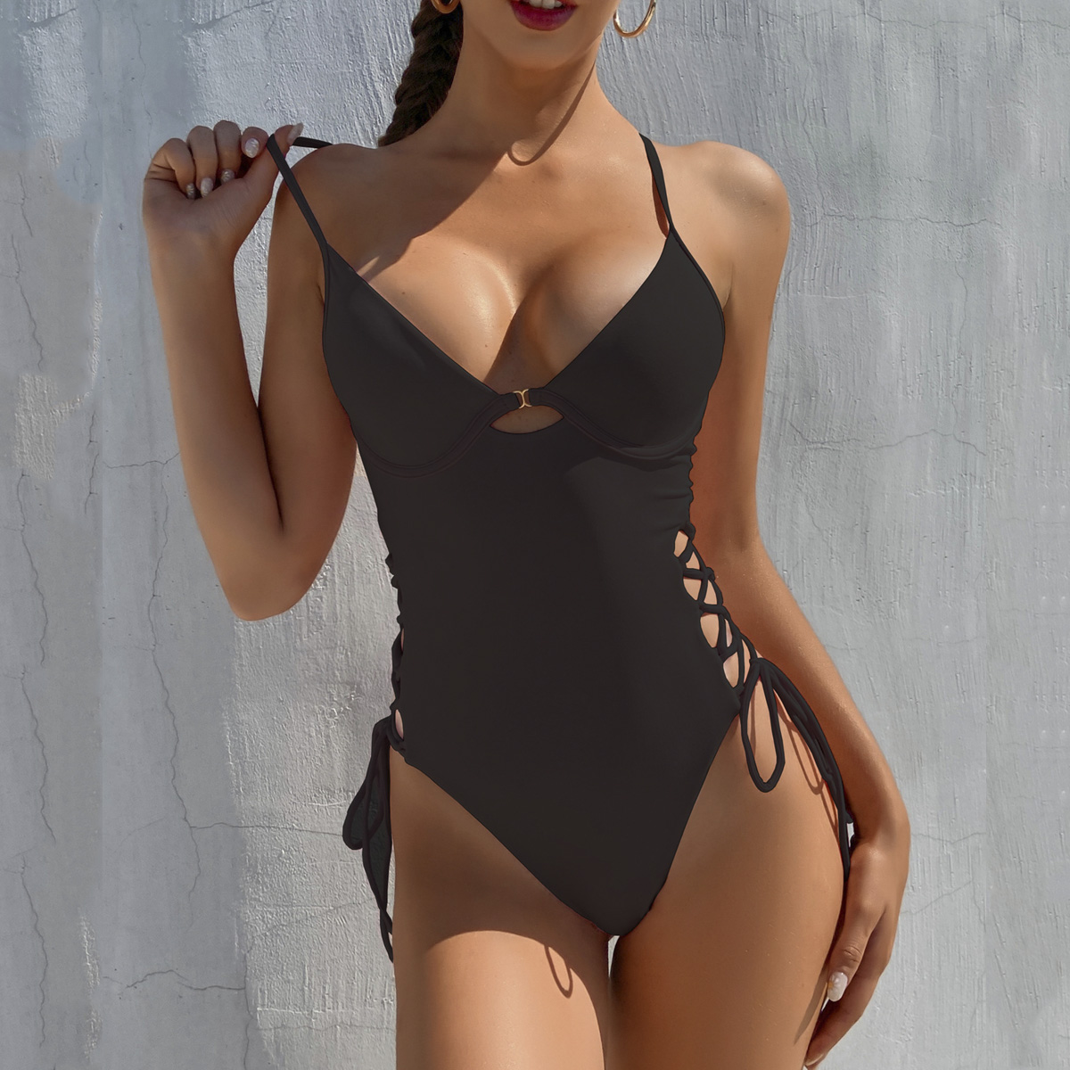 Push Up Women Swimwear One Piece Swimsuit Female Solid Monokini Bandage Swim Suits Sexy Bathing Suit Swimming Beachwear Monokini
