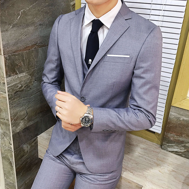 Business Korean-style Wear Suit Men's Slim Fit Groom Marriage Formal Dress