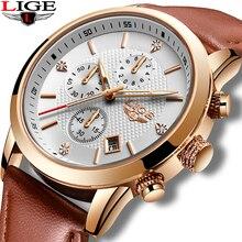 цены LIGE Men Watches Top Luxury Brand Leather Waterproof Sports Quartz Watch Men Fashion Date Clock Silver Watch Relogio Masculino