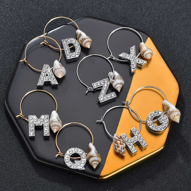 Bohemian Sea Shell Letters Tassels Hoop Earrings For Women Gold Color Round Hoop Earrings Christmas Gift Jewelry Drop Shipping