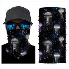 Scarf Ring Half Face Mask Jellyfish Pattern Breathable Anti-UV Windproof Neck Gaiter Women Men Bandana Hijab Chiffon