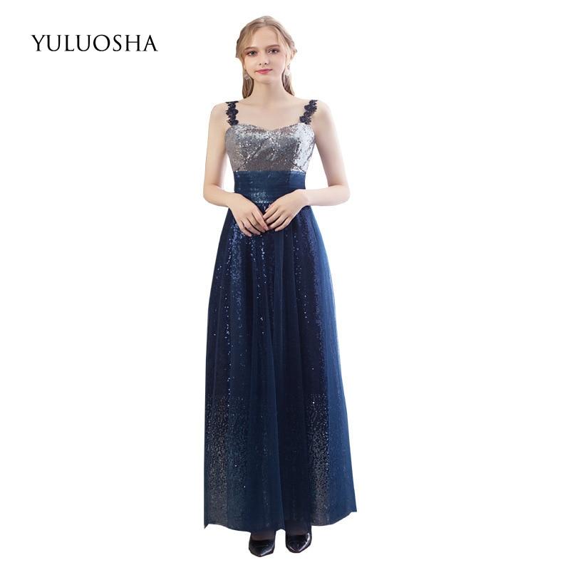 YULUOSHA 2020 Sexy Blue Bridesmaid Dresses V-Neck Sleeveless Long Sequin Chiffon Wedding Party Formal Gowns Vestidos De Festa