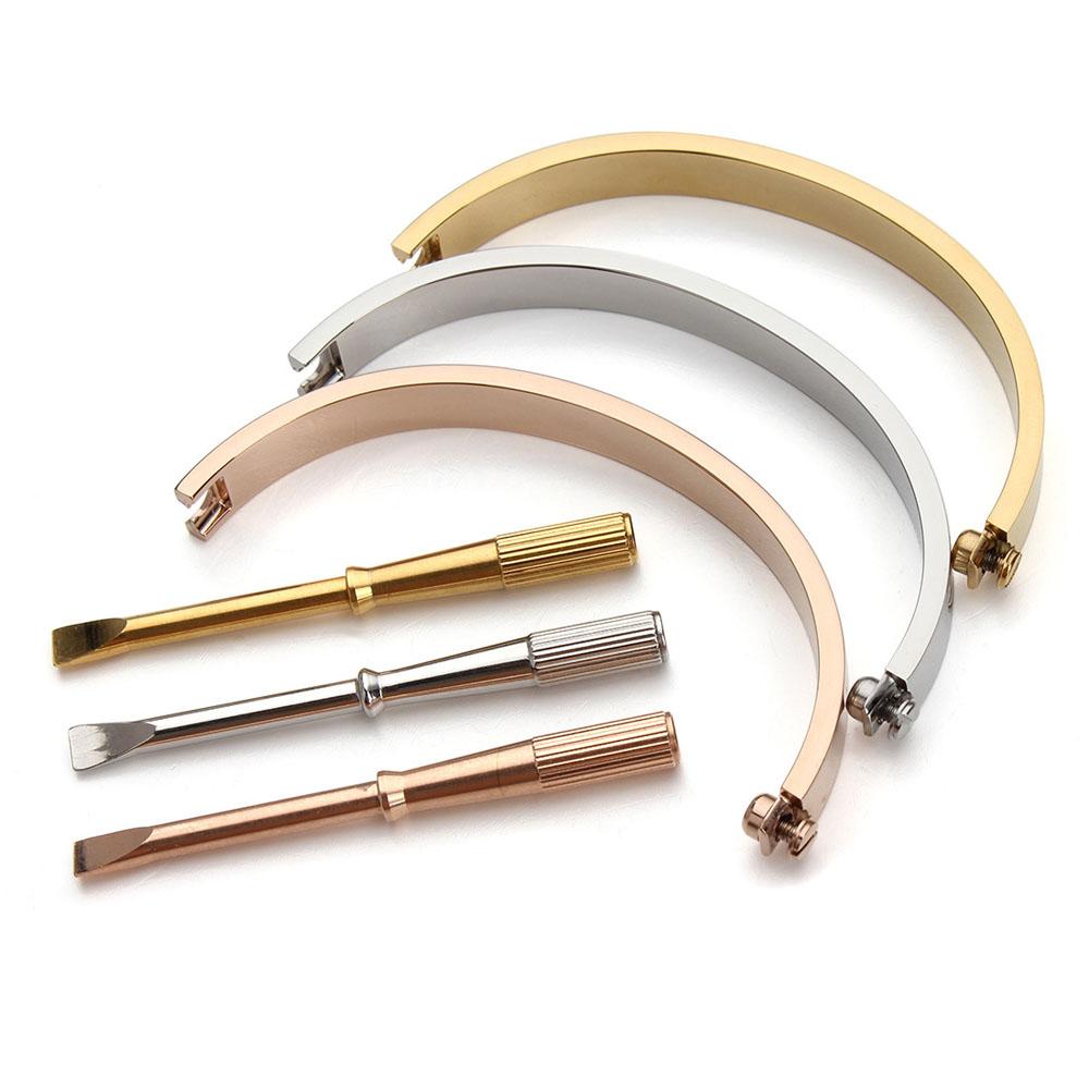 Titanium Steel Oval Screw Bangle Bracelets Screwdriver