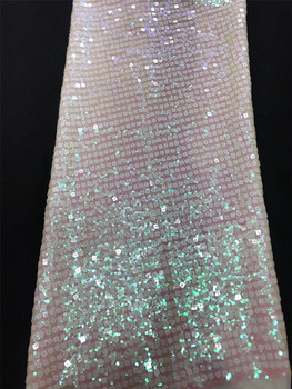 French sequin lace fabric 2020 African tulle lace fabric high quality Nigeria sequin lace embroidered wedding dress J36511