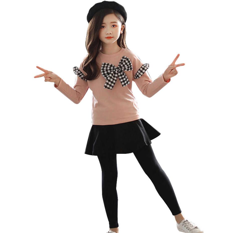 Zestaw ubrań dla dziewczynek koszula z kokardą + Legging 2 szt. Jesienny garnitur dla dziewczynek zimowe ubrania dla dzieci Casual odzież dla nastoletnich dziewcząt 4 6 8 12 lat