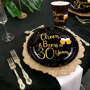 Image 4 - Black Gold Set Cheers Beers to Happy Birthday 30 50 60 70 80 90 Years Birthday Decor Cheers to 40 Years Birthday Party Supplies