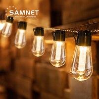 LED guirnaldas de luces alimentadas por energía Solar de la decoración de la Navidad luz de la bombilla IP65 impermeable Patio lámpara Garland para muebles de jardín al aire libre