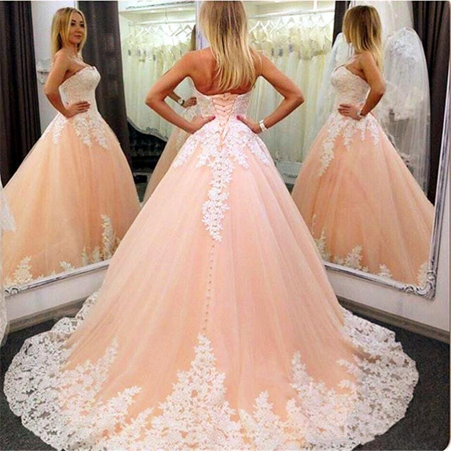 2019 Sweetheart Neckline Peach Wedding Dress With Ball Gowns Ivory Lace Applique Bridal Dresses With Train Vestido De Noiva