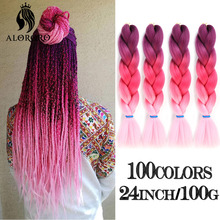 Jumbo Braid Hair Braids-Extensions Pink 64-Colors Synthetic 24inch Alororo Red 2/4/6/8pcs