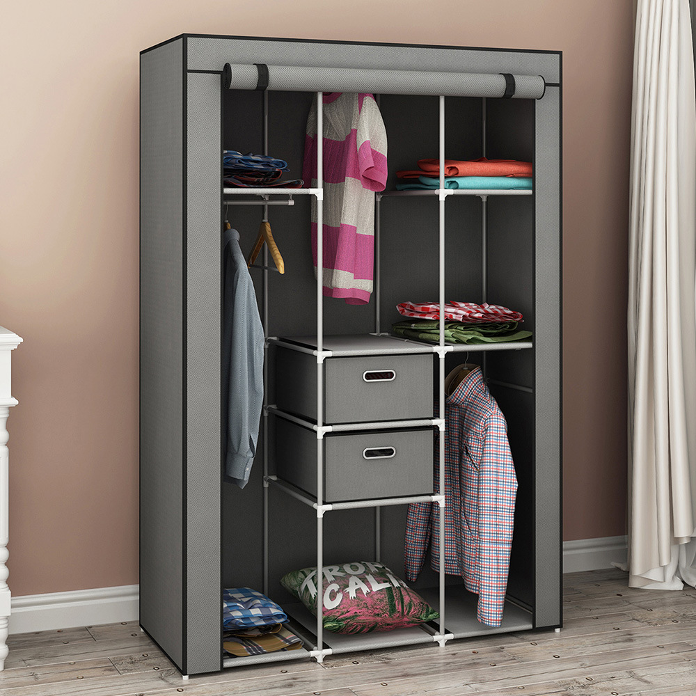 Cross Border For With Drawer Simplicity Cloth Wardrobe Economical Assembly Fabric Bedroom Dormitory Cabinet Wardrobe Foreign Tra