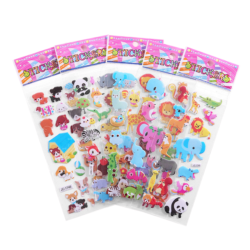 Bubble Puffy Stickers Cartoon Animal Fruit DIY Stickers Waterproof Girls Boys Kids Toys For Children Laptop Sticker Gifts Random
