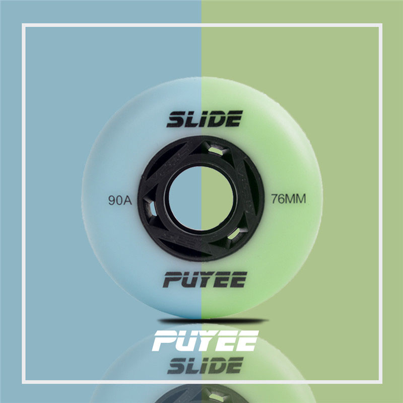 【72 76 80mm】original PUYEE green flourescent skating wheel blue 90A glue flash shine wheels luminous for sliding roller patines