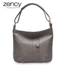 Zency 100% Genuine Leather Handbag Hobos Women Shoulder Bag Fashion Lady Crossbody Messenger Purse Tote Bags Black Grey