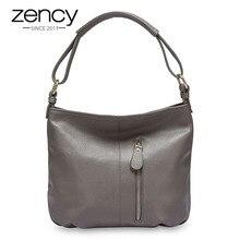 Zency 100% bolsa de couro genuíno hobos mulheres bolsa de ombro moda senhora crossbody messenger bolsa tote sacos preto cinza