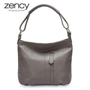 Image 1 - Zency 100% hakiki deri çanta Hobos kadınlar omuzdan askili çanta moda bayan Crossbody Messenger çanta Tote çanta siyah gri