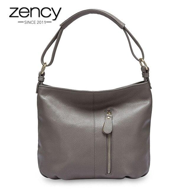 Zency 100% hakiki deri çanta Hobos kadınlar omuzdan askili çanta moda bayan Crossbody Messenger çanta Tote çanta siyah gri