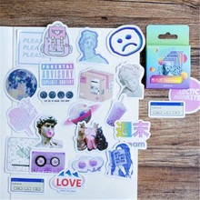 46 Pcs/box Cute Vaporwave Wall Stickers Label Kawaii Diary Handmade Adhesive Paper Flake Japan Sticker Scrapbooking Stationery