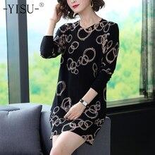 Yisu 스웨터 드레스 여성 긴 풀오버 2019 가을 겨울 오 넥 긴 소매 스트레이트 드레스 간단한 원형 패턴 프린트 드레스