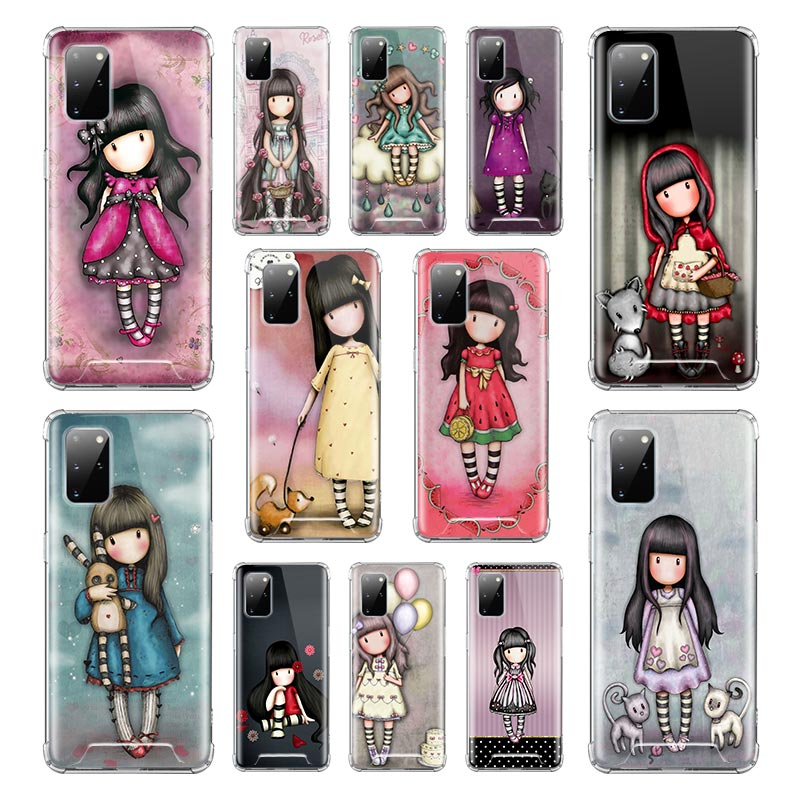 Case For Samsung Galaxy S20 FE S21 S10 S9 Plus Note 20 Ultra 10 Lite 9 Airbag Capa Soft Phone Cover Cute Cartoon Girl