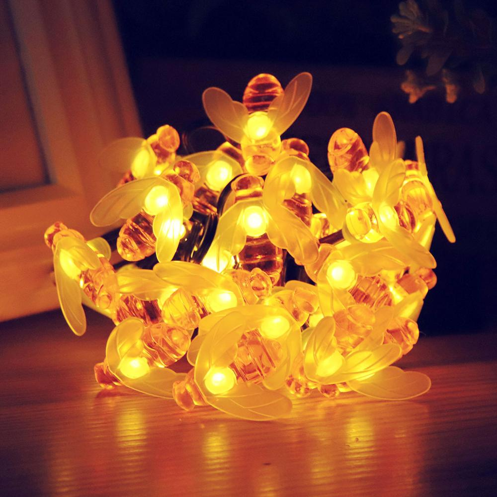 Christmas Solar Powered Cute Honey Bee Led String Fairy Light 20leds 30leds Bee Outdoor Garden Fence Patio New Garland Lights