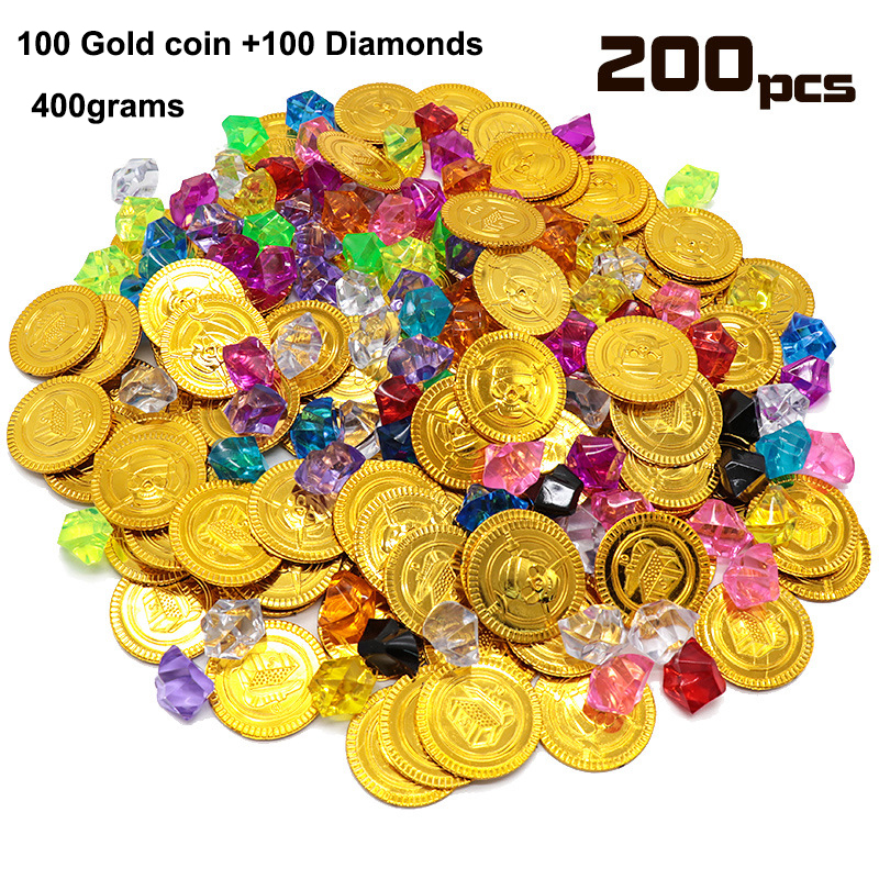 Lot <font><b>X</b></font> 200pcs A PACK Pirate Props <font><b>Treasure</b></font> Playset Gems <font><b>Toys</b></font> Gold Coins Jewelry for Pirate Party Game image