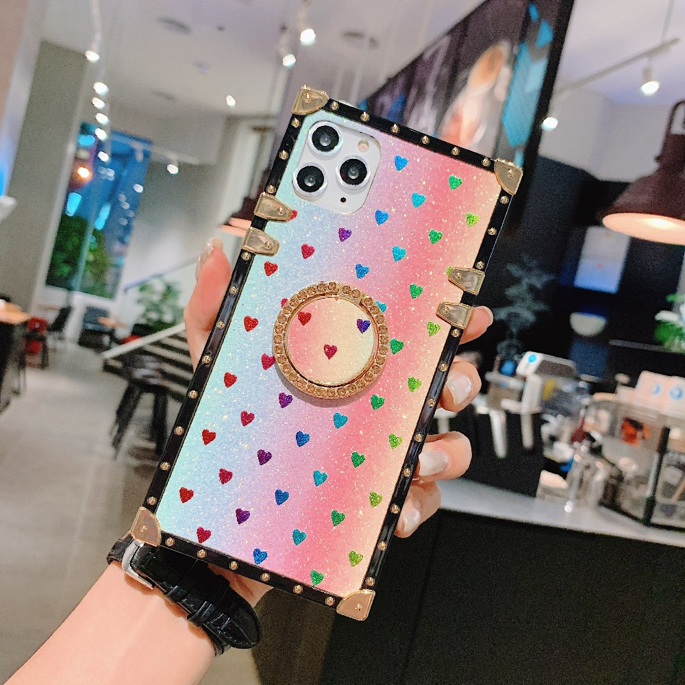 Cases For iPhone 11 Pro Max Xr Xs Max Coque Square Diamond Stand Love Heart Bling Sequins Case For iPhone X 6 6S 7 8 Plus Cover (8)