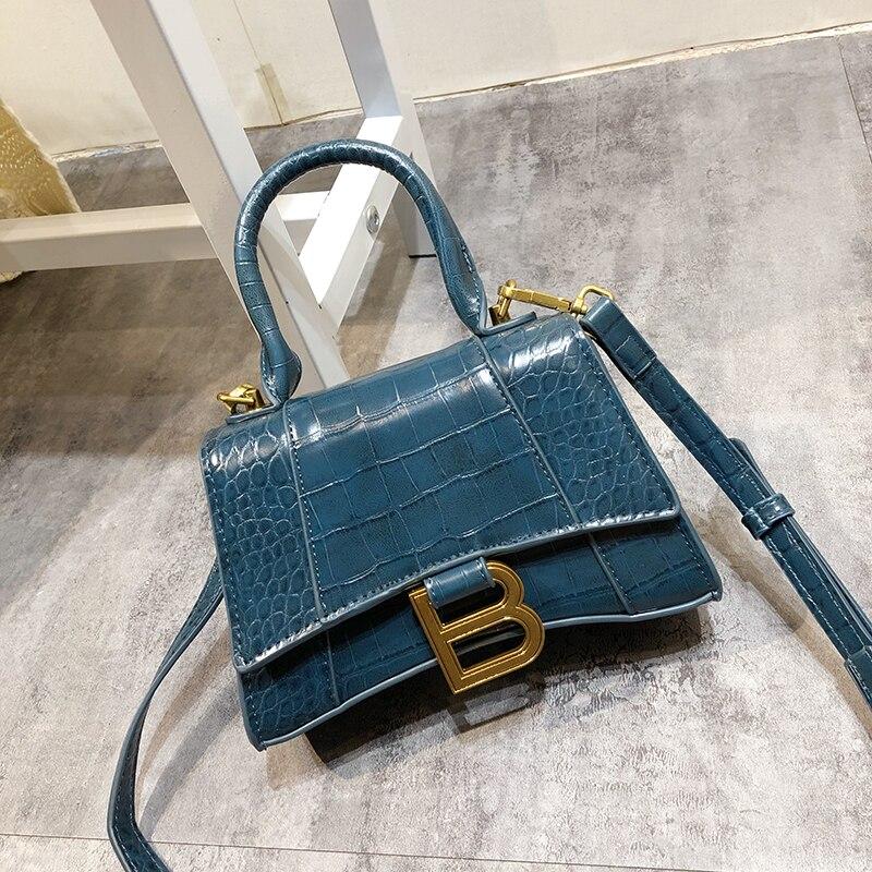 Women Leather Handbag Hourglass Bag Slung Packet New Internet Celebrity Same Paragraph Simple Temperament Shoulder Bag