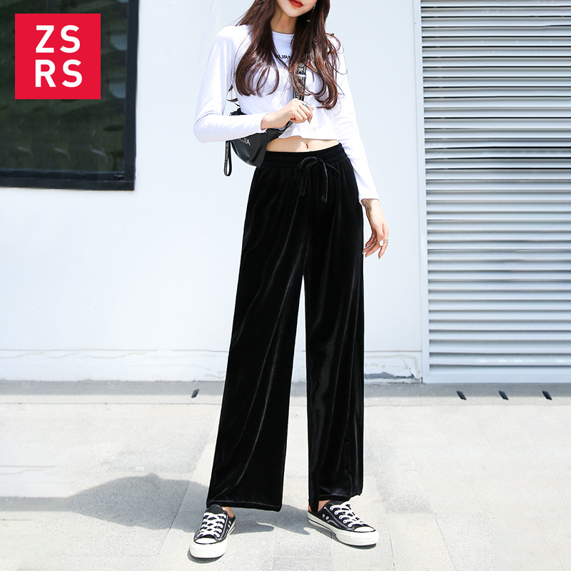 Zsrs 2019   Wide     Leg     Pants   Women Solid High Waist Trousers Pleated Loose Casual Elegant Womens Gold velvet Chic School girl   pants