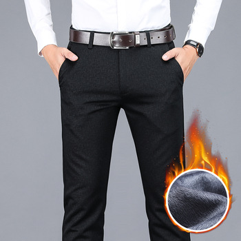 2020 winter new men's warm casual pants Business fashion Fleece thick plaid trousers Office stretch pants male Brand 1