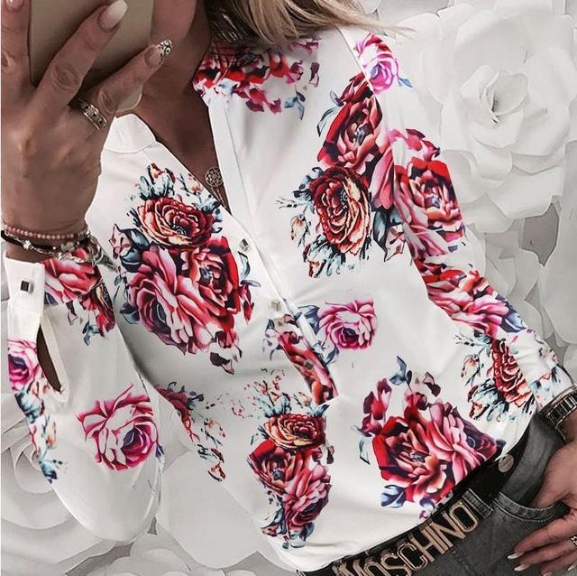 Women's Pattern Print Blouse Shirt 2020 Autumn Casual Long Sleeve V Neck Tops Shirt Ladies Fashion Elegant Buttons Flower Blouse 4