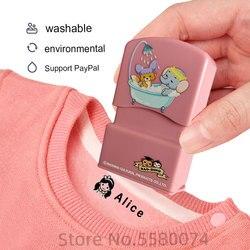 Carimbo nome do bebê feito sob encomenda, diy para crianças nome selo chapéu roupas estudantes não fácil de desbotar nome da segurança adesivo de carimbo