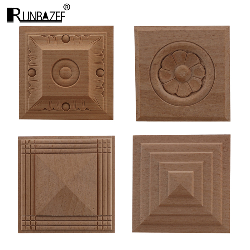 RUNBAZEF  European Decal Square Solid Round Door Heart Flower Furniture Decoration Accessories Carved Walls Wood Applique Onlay