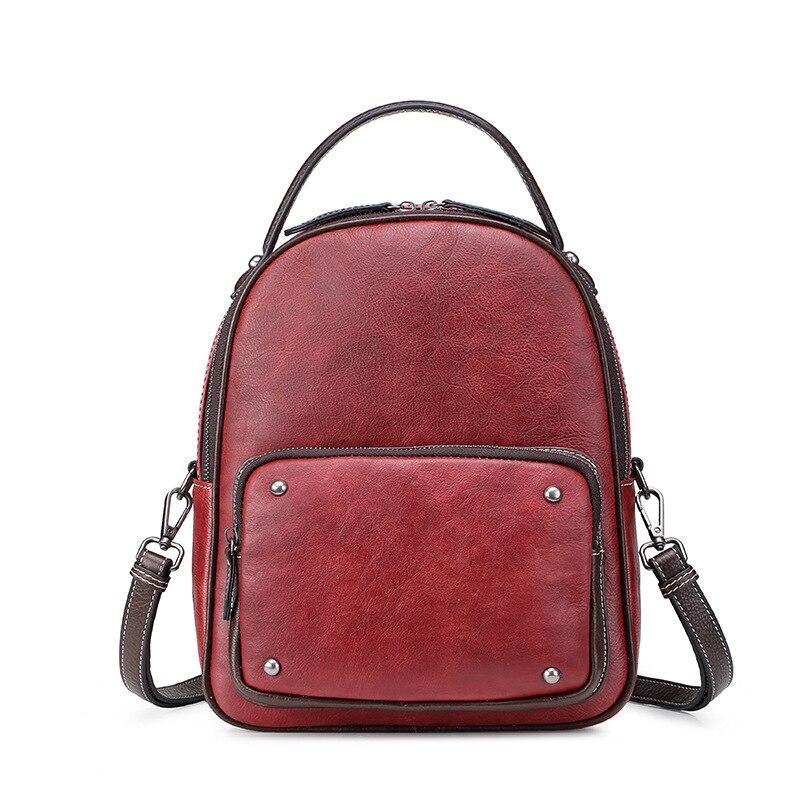 preto vermelho genuíno couro feminino mochila menina