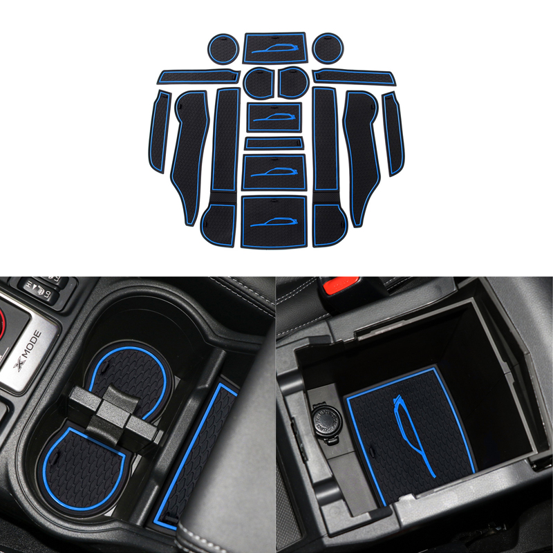 Image 2 - Car Front&Back Door Slot Pad Mat Cup Holders Mats Trim Armrest Storage Box Pad Interior Styling for Subaru Forester 2019 Interior Accessories 17Pcs(set)-in Interior Mouldings from Automobiles & Motorcycles