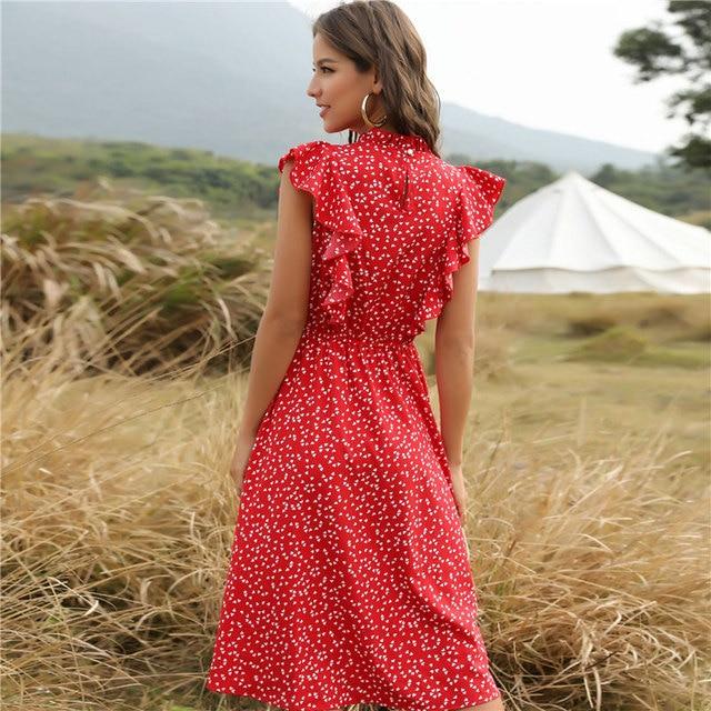 ruffled calf-length summer dress 4