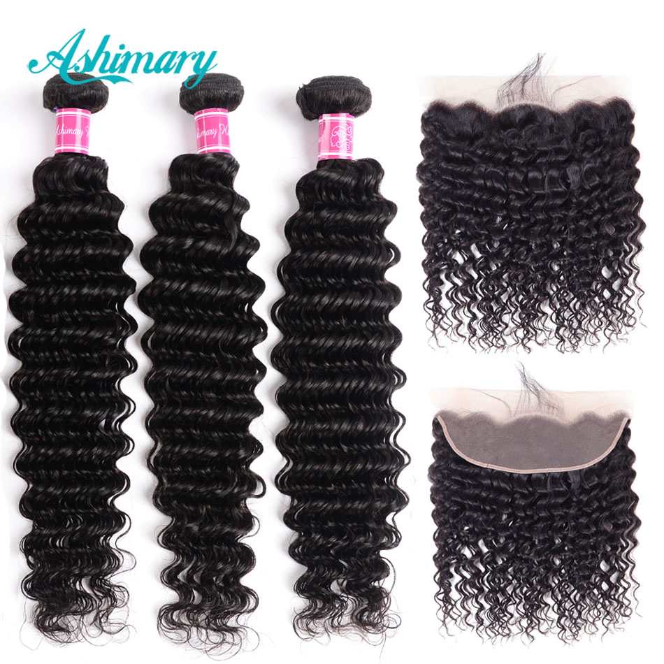Ha50f28be46c24a6eb943c8f74c61c2c22 Ashimary Deep Wave Brazilian Hair Bundles with Frontal Remy Hair 2/3/4 Bundles with Frontal Human Hair Bundles with Lace Frontal