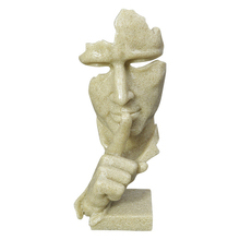 Abstract Do Not Speak Character Statue Home Decoration Accessories Creative Ornament Sandstone Decor Figurine