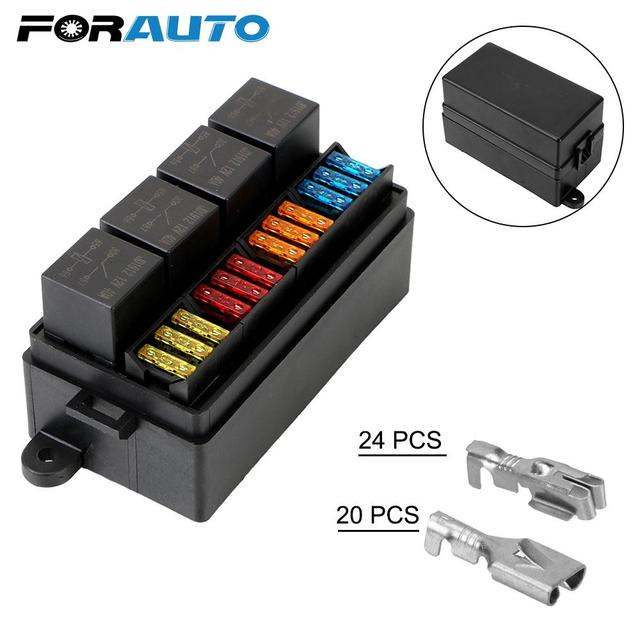 Fuse 12 Way Blade Fuse Holder Box with Spade Terminals 4Pin 12V 40A Relays for Auto Car Truck Trailer Plastic Cover
