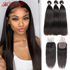 Malaysian Straight Human Hair Bundles With Closure 4X4 Lace Closure With Bundles Remy Hair Bundles With Closure Ali Annabelle