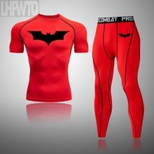 Men's Compression 1 Pcs/ 2 Pcs Tracksuit Batman Sports Wear for Men Gym Fitness Clothes Running Jogging Suits Exercise Rashguard