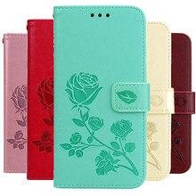 3D Embossed Rose Flower Pattern Wallet Case For Sam