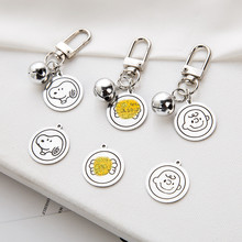 2020 DIY Keychain Accessories Alloy Charlie Brown Sesame Street Key Chain Snoopy Cartoon Round Head Pendant Keyring