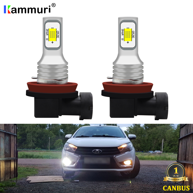 (2) Canbus H8 H11 LED Bulbs For Lada Kalina Granta Vesta SW Larina NIVA II Priora XRAY LED DRL Fog Lights Bulb Lamp 6000k 3000k