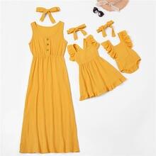 Летняя одежда «Мама и я» однотонное платье Семейные комплекты