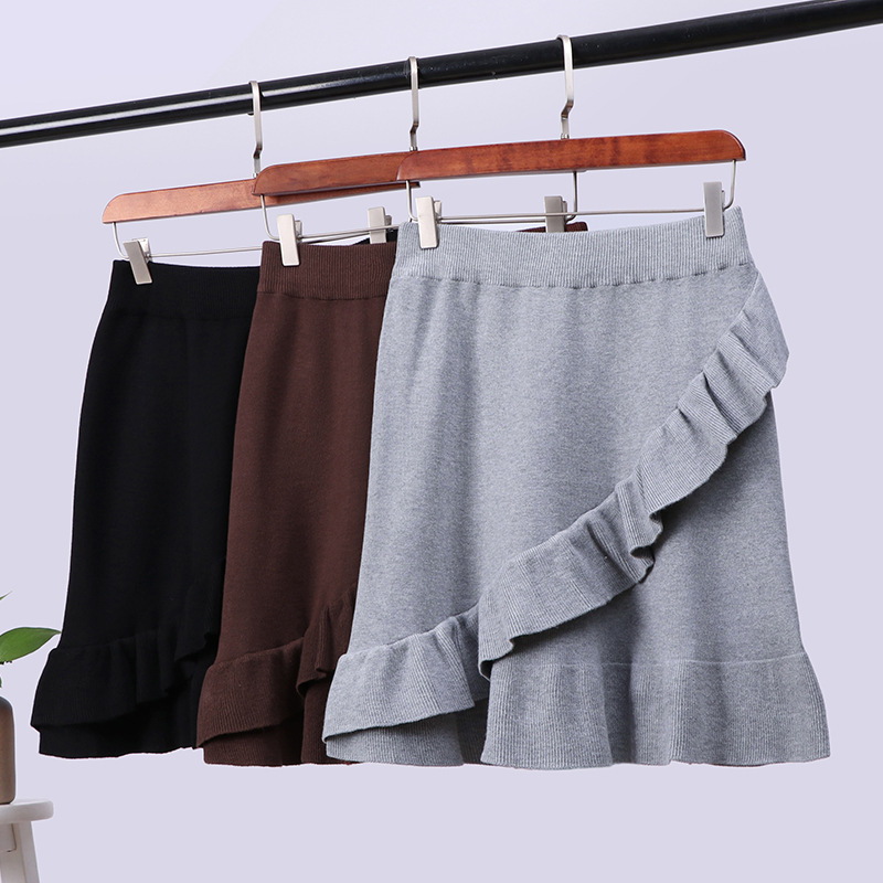 Shop Knitted Skirt Women's Autumn And Winter Creative-Korean-style Versatile Irregular Flounced Short Skirt Children