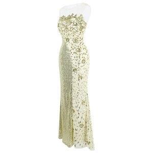 Image 3 - Robe de soirée forme sirène, robe de soirée, col rond, à la mode, robe de mariage, épissage, Champagne, 454